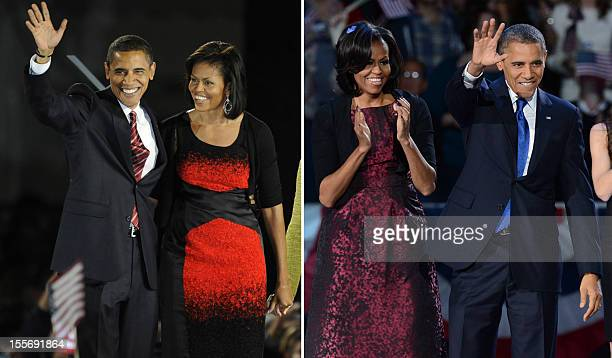 A combo picture shows the Democratic then presidential candidate Barack Obama and his wife Michelle stand on stage during their election night...