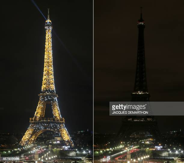 A combo picture taken on March 28 2015 in Paris shows the Eiffel Tower being submerged into darkness for the Earth Hour environmental campaign...