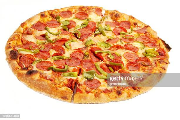 combo pizza - pepperoni pizza stock pictures, royalty-free photos & images