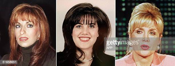 Combo showing from L: Paula Jones --who has accused US President Bill Clinton of sexual harassment -- in a 06 January picture; Monica Lewinsky -- who...
