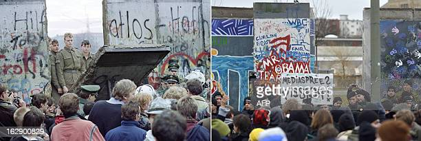 A combo shows a file photo taken on November 11 1989 of West Berliners crowding in front of the Berlin Wall as East German border guards demolish a...