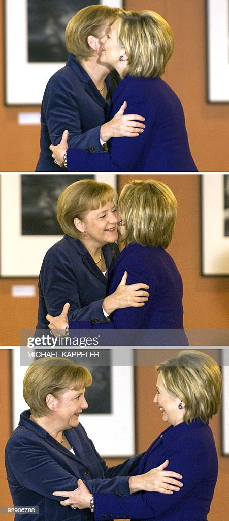 Combo shows German Chancellor Angela Merkel (L) greeting US Secretary of State Hillary Clinton prior to bilateral talks on November 9, 2009 at the Chancellory in Berlin, ahead of celebrations for the 20th anniversary of the fall of the wall.