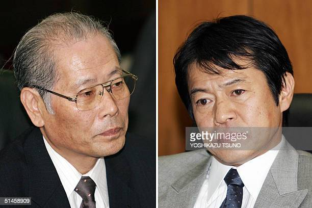 A combo shows president of Japan's troubled supermarket chain Daiei Kunio Takagi and Syoichi Nakagawa Minister of Economy Trade and Industry during...