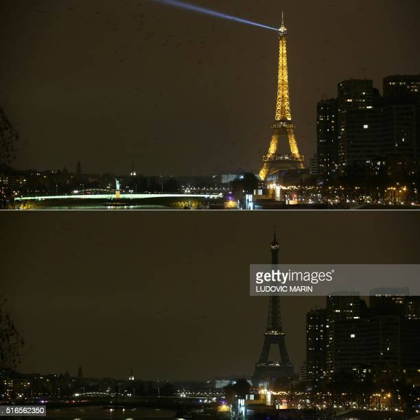 A combo shows the Eiffel Tower in Paris before and after it went dark for the Earth Hour environmental campaign on March 19 2016 / AFP PHOTO /...