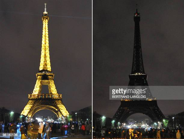 A combo shows the Eiffel tower submerging into darkness at 830 pm on March 27 in Paris as part of the Earth Hour switchoff which comes just months...