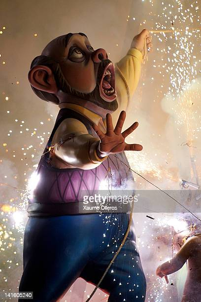 A combustible 'Ninot' caricatures burn during the last day of the 'Fallas' festival on March 19 2012 in Valencia Spain The festival which runs March...