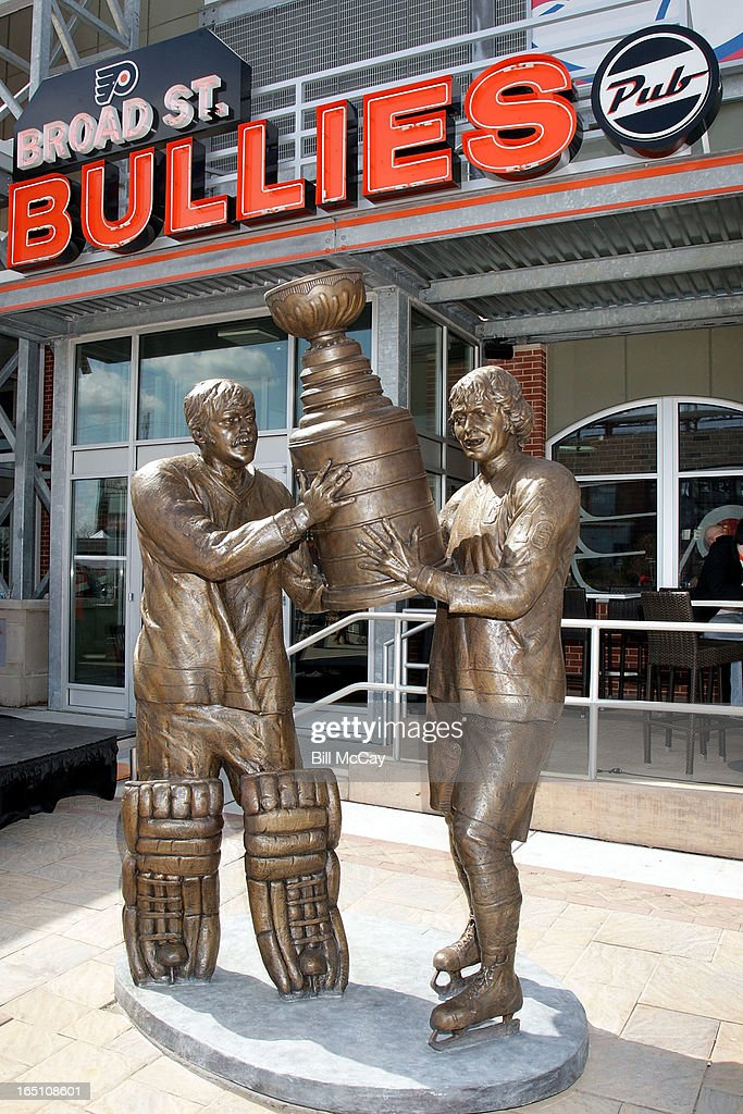 Comcast-Spectacor unveils a new seven-foot tall bronze statue of then team captain Bob Clarke and goaltender Bernie Parent hoisting the Stanley Cup commemorating one of the most iconic moments in Philadelphia Flyers history at Xfinity Live March 30, 2013 in Philadelphia, Pennsylvania.
