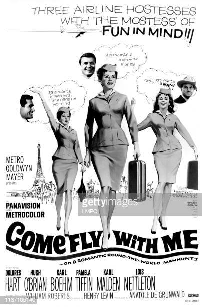 Come Fly With Me poster US poster Pamela Tiffin Dolores Hart Lois Nettleton Hugh O'Brian Karl Bohm Karl Malden 1963