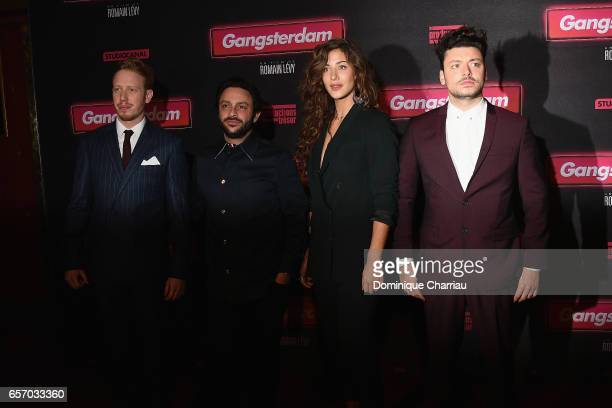 Come Levin Romain Levy Manon Azem and Kev Adamsattends the 'Gangsterdam' Paris Premiere at Le Grand Rex on March 23 2017 in Paris France