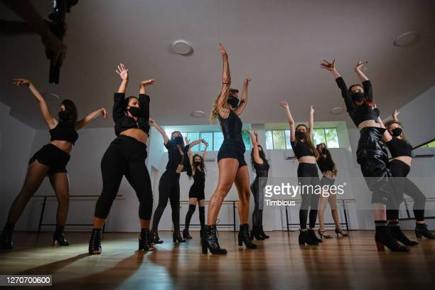 come on girls put your hands up - dance troupe stock pictures, royalty-free photos & images