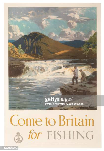 """""""Come to Britain for Fishing"""" poster depicting a fisherman and his companion standing at the rocky edge of a rushing river, illustrated by Norman..."""