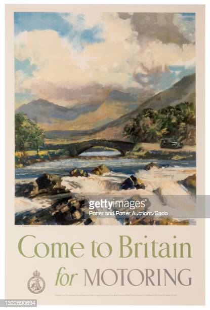 """""""Come to Britain for Motoring"""" poster depicting a vintage car parked in a mountainous rural landscape near a stone bridge and rushing river,..."""