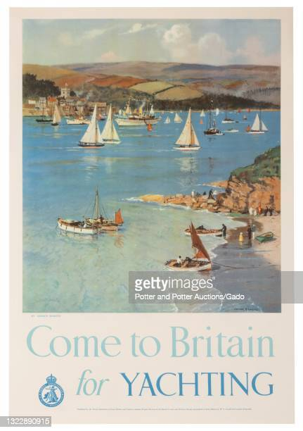 """""""Come to Britain for Yachting"""" poster depicting a sheltered cove dotted with sailboats and dinghies, illustrated by Arthur Burgess for the Travel..."""