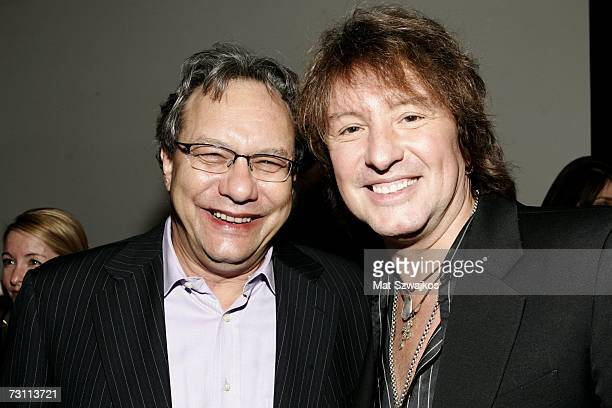 "Comediam Lewis Black and musician Richie Sambora pose backstage at Kenneth Cole's ""R.S.V.P. To HELP"" benefit hosted by Kenneth Cole and Jon Bon Jovi..."