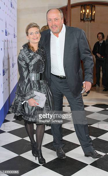 Comedian actor Hans Werner Olm and Cornelia Utz attend the award ceremony of the 'Felix Burda Award' at the Hotel Adlon Unter den Linden on April 22...