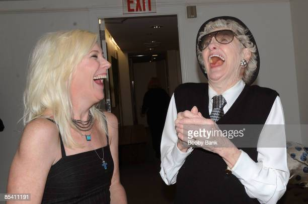 Comedian actor Sue Costello and Elaine Stritch attend the Hope Trumps Fear storytelling event at Barney's New York on March 12 2009 in New York City