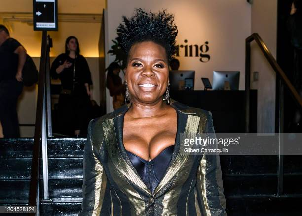 Comedian actress Leslie Jones is seen leaving the Christian Siriano Fall Winter 2020 NYFW at Spring Studios on February 06 2020 in New York City