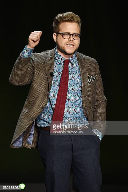 Comedian Adam Conover appears on stage during the Turner Upfront 2016 show at The Theater at Madison Square Garden on May 18 2016 in New York City