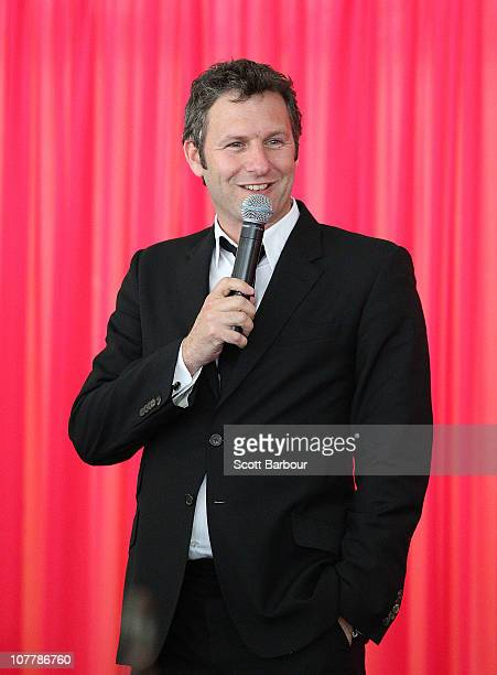 Comedian Adam Hills performs during Cricket Australia's High Tea at the 'G function during day two of the Fourth Test match between Australia and...
