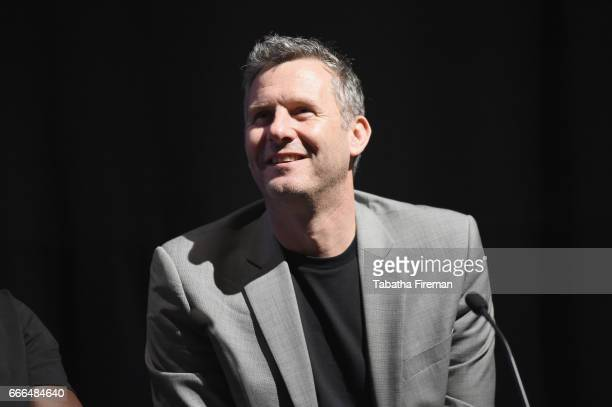 Comedian Adam Hills speaks on stage during the panel discussion about 'How TV Turned Paralympians Into Heroes' at the BFI Radio Times TV Festival at...