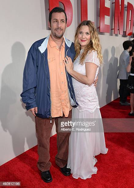 Comedian Adam Sandler and actress Drew Barrymore attend the Los Angeles premiere of Blended at TCL Chinese Theatre on May 21 2014 in Hollywood...