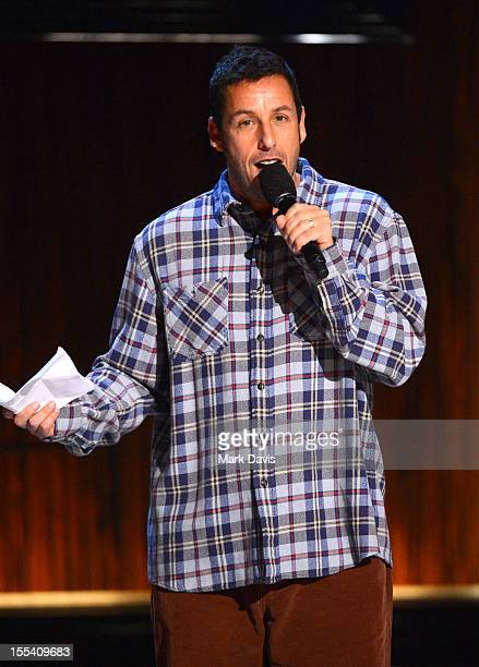 """Comedian Adam Sandler onstage at Spike TV's """"Eddie Murphy: One Night Only"""" at the Saban Theatre on November 3, 2012 in Beverly Hills, California."""