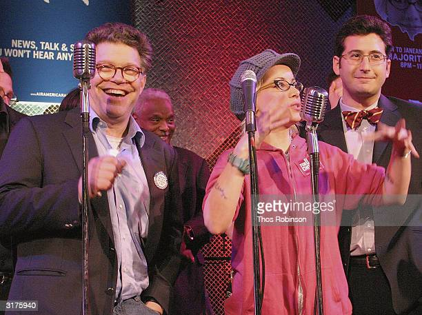 Comedian Al Franken and Actress Janeane Garofalo perform at the Air America Radio Launch Party on March 30 2004 at the Maritime Hotel in New York City