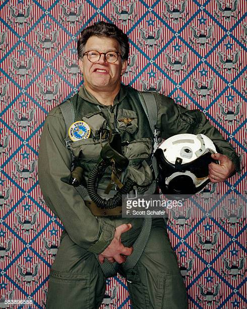 Comedian Al Franken is photographed spoofing President Bush's appearance aboard the USS Abraham Lincoln for Newsweek Magazine in 2004