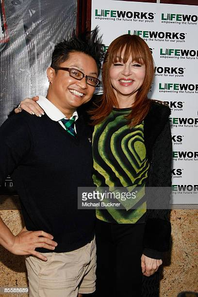 Comedian Alec Mapa and comedian Judy Tenuta attend the Laugh Out Loud Comedy Benefit for Lifeworks Mentoring at the Laugh Factory on March 24 2009 in...