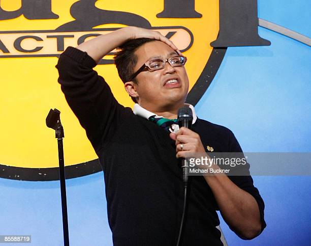 Comedian Alev Mapa performs at the Laugh Out Loud Comedy Benefit for Lifeworks Mentoring at the Laugh Factory on March 24 2009 in West Hollywood...
