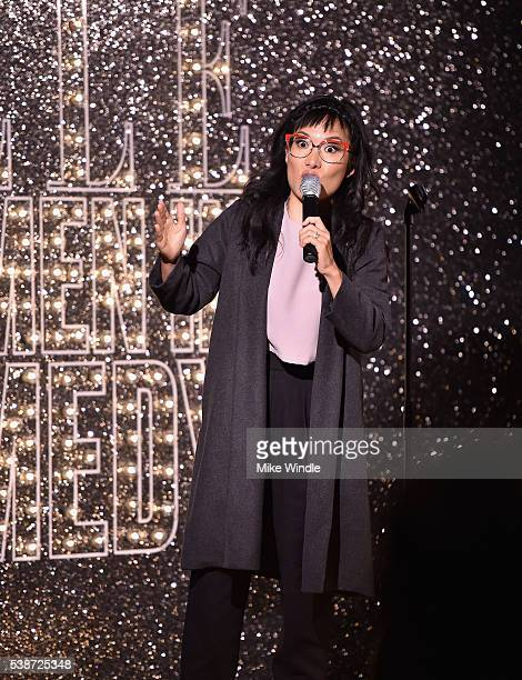 Comedian Ali Wong speaks onstage during ELLE Women In Comedy event hosted by ELLE EditorinChief Robbie Myers and Leslie Jones Melissa McCarthy Kate...