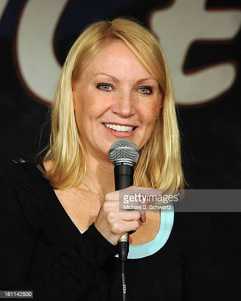 Comedian Alli Breen performs during her appearance at The Ice House Comedy Club on February 8 2013 in Pasadena California