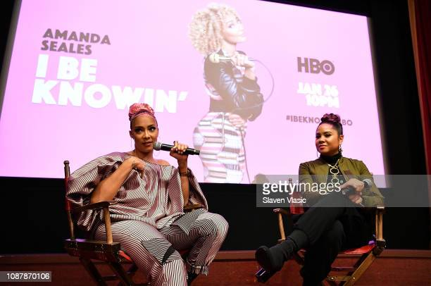 Comedian Amanda Seales and moderator/radio personality Angela Yee attend HBO's I Be Knowin' NYC Screening with Amanda Seales at The Roxy Hotel Cinema...