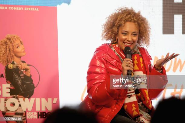 Comedian Amanda Seales speaks onstage during I Be Knowin' A Candid Convo With Amanda Seales during the 2019 Sundance Film Festival at The Blackhouse...