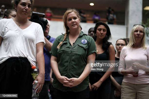 Comedian Amy Schumer participates in a protest against the confirmation of Supreme Court nominee Judge Brett Kavanaugh October 4 2018 at the Hart...