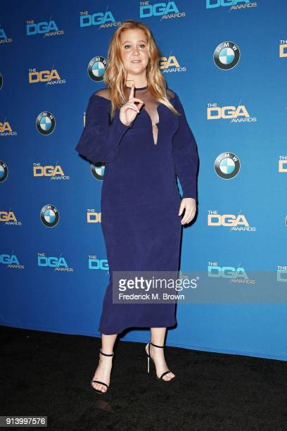 Comedian Amy Schumer poses in the press room during the 70th Annual Directors Guild Of America Awards at The Beverly Hilton Hotel on February 3 2018...