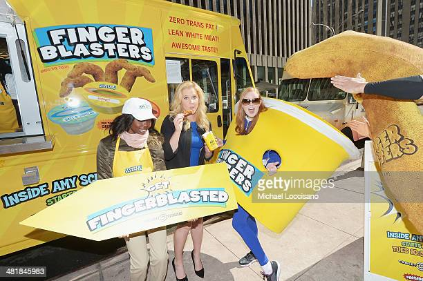 Comedian Amy Schumer promotes her Finger Blaster sketch From season 2 of Comedy Central's Inside Amy Schumer on April 1 2014 in New York City