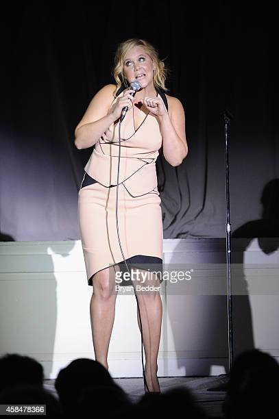 Comedian Amy Schumer speaks onstage at NRDC's 'Night Of Comedy' benefiting the Natural Resources Defense Council at 583 Park Ave on November 5 2014...