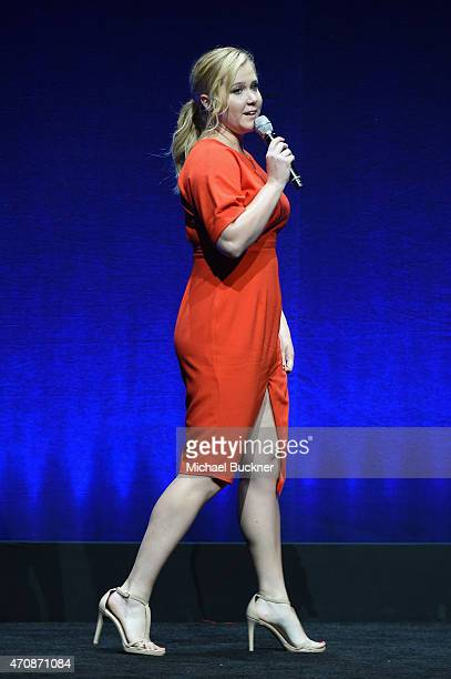 Comedian Amy Schumer speaks onstage at Universal Pictures Invites You to an Exclusive Product Presentation Highlighting its Summer of 2015 and...