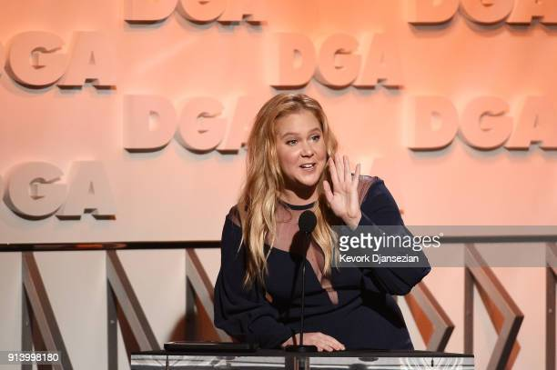 Comedian Amy Schumer speaks onstage during the 70th Annual Directors Guild Of America Awards at The Beverly Hilton Hotel on February 3 2018 in...