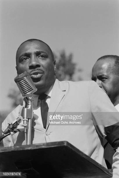 Comedian and activist Dick Gregory addresses a civil rights demonstration in Washington DC in the aftermath of the bombing of the 16th Street Baptist...