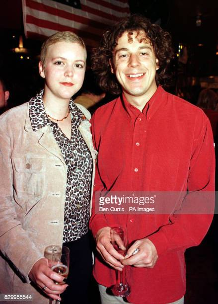 Comedian and actor Alan Davies with an unnamed companion at Planet Hollywood in London for a lunch celebrating American Indepence Day in aid of...