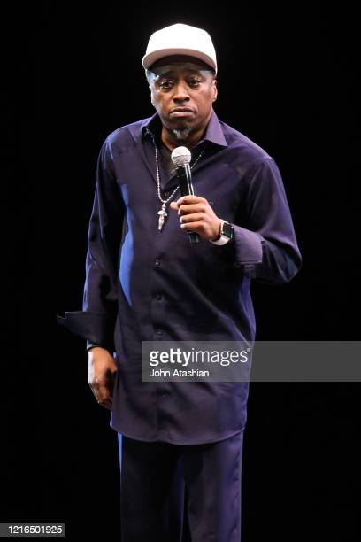 """Comedian and actor, Eddie Griffin, is shown performing on stage during a """"live"""" stand up appearance on November 7, 2015."""