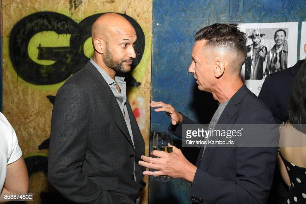 Comedian and Actor KeeganMichael Key and GQ EditorinChief Jim Nelson attend GQ x GAP Coolest Designers on the Planet 2017 at St Ann's Warehouse on...