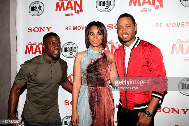 Comedian and actor Kevin Hart actress Regina Hall and television personality and actor Terrence J poses for photos prior to the 'Think Like A Man...