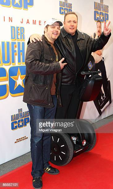 Comedian and actor Kevin James and German comedian Mario Barth pose for the media prior to the German premiere of the movie Mall Cop on March 22,...
