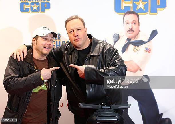 Comedian and actor Kevin James and German comedian Mario Barth pose for the media prior to the German premiere of the movie Mall Cop on March 22 2009...