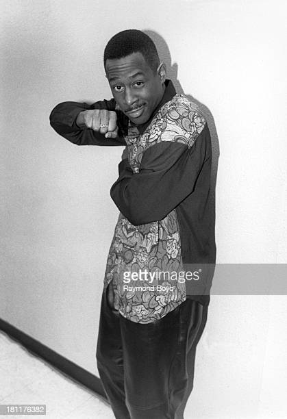 Comedian and actor Martin Lawrence poses for photos backstage at the Vic Theater in Chicago Illinois in NOVEMBER 1990