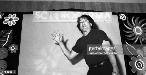 Comedian and actor Robin Williams performs for the 4th annual Scleroderma Research foundation benefit dinner on June 09, 1991 at the Loews Santa...