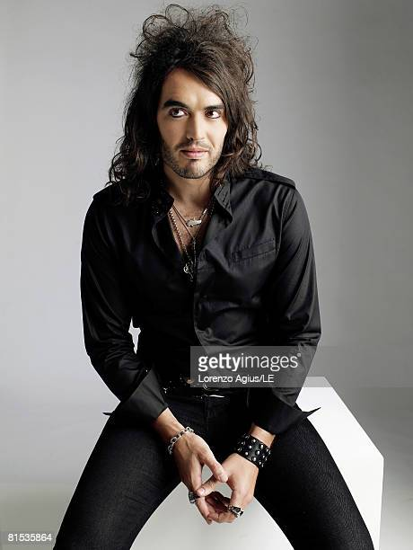Comedian and actor Russell Brand poses in the green room at the Live Earth Concert in Wembley Stadium on July 7, 2007 in London.